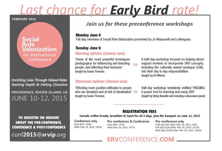 early bird SRV conf